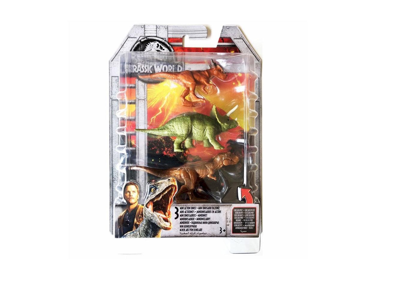 Stygimoloch /& T-Rex Jurassic World Mini Action Dinos 3-Pack Triceratops